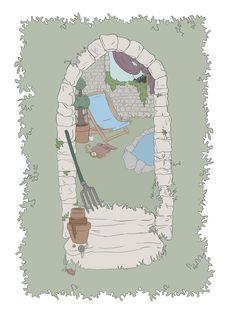 The Garden - Print available to buy - copyright Kirsty Willette Illustration www.etsy.com/uk/shop/TeaForMeDesigns #garden #british #art #drawing #illustration #deckchair #pond #fantasy #gardening