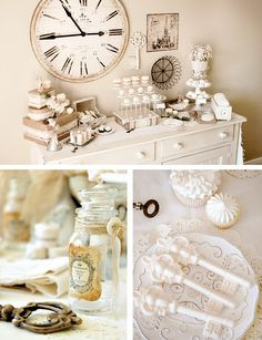 Pretty vintage theme.  Love the idea of wrapping empty boxes with plain brown paper and using them to add height to the table.