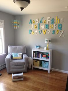 Color idea: gray walls with accents of teal/turquoise, yellow and/or white. Decor Idea: alphabet in accent colors