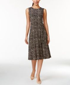 Charter Club Sleeveless Fit-and-Flare Dress, Animal Print - Dresses - Women - Macy's