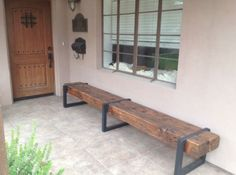 Rustic wood and steel bench -http://phoenix.craigslist.org/cph/fuo/3526459395.html