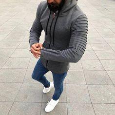 Men Hooded Cardigan jacket Slim zip sleeve jacket coat Men hoodies swe – myshoponline.com