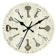 threshold wall clock with antique keys target in living room - Target Wall Clocks
