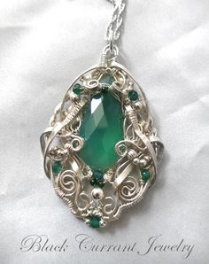 Green Onyx Drop and Sterling Silver Pendant by blackcurrantjewelry.deviantart.com on @DeviantArt