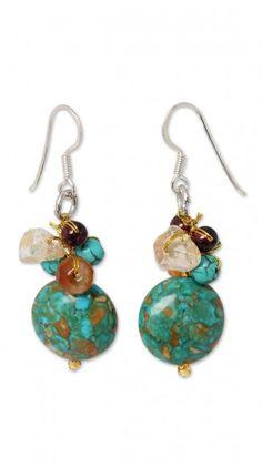 Carnelian and garnet cluster earrings 'Green Earth'