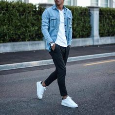 Urban Fashion: Jean Jacket Outfits for Men Casual Mode, Men Casual, Jean Jacket Outfits, Shirt Jacket, Mode Man, Herren Outfit, Stylish Mens Outfits, Mode Outfits, Urban Style Outfits