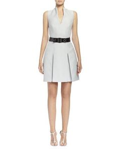 b534401109 Alexander McQueen Box-Pleated Fit-and-Flare Dress