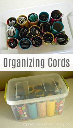 If you have a tote full of jumbled cords and can't find what you need this way of Organizing Cords is for you.