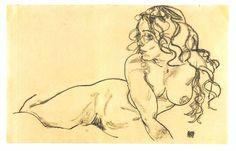 "Egon Schiele, Tulln (1890–1918). Austrian painter. ""Female nude with long hair reclining"" (1918)."