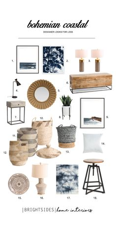 Bohemian Coastal, Luxe for Less, Home Decor, Accessories, Brightsides Home Interiors