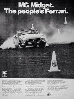 Retro Motor Car Ads - MG Midget ad.