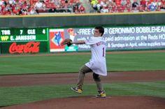Josh Hutcherson throwing the first pitch!