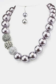 Silver pearls and crystals