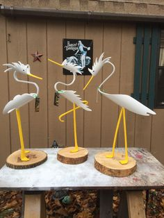 3 spiked egrets. Christmas order. Approximately 27 inches tall.