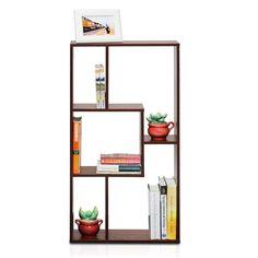 Storage Rack Shelves Wall Mounted Five Grid Magic Cube Multimedia Book Walnut  #SuperHappyDeals