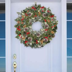 30 Inch Christmas Wreath with Lights Christmas Decoration Battery Operated Pre-lit Spruce Wreath Garland with 80 Colorful LED Light Red Berries... ad #christmaswreath #wreaths #christmasdecorations