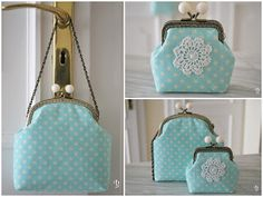 Frame purse with lace