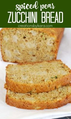 Pear Zucchini Bread - Recipe for easy zucchini bread with chunks of juicy pear in every bite. A tasty twist on classic zucchini bread. #zucchinibread #pearzucchinibread #pearbread #quickbread #zucchini Pear Bread, Zucchini Bread Recipes, Recipes With Yeast, Easy Homemade Recipes, Homemade Desserts, Savory Snacks, Vegan Snacks, Easy Snacks, Meals