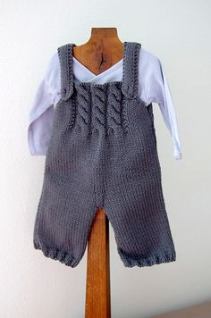 Baby Ligt Green-Ligt Grey Line Hand knitted Overalls with detailed cabled bodice and Sweater Baby Boy Knitting, Knitting For Kids, Baby Knitting Patterns, Baby Patterns, Knit Or Crochet, Crochet Baby, Baby Outfits, Kids Outfits, Baby Overall