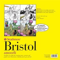 Strathmore 300 Series Bristol Board Smooth Surface Paper Pad (12X12) Ideal for graphite pencil, colored pencil, charcoal, sketching stick, pen & ink, marker, mixed media, collage: Amazon.co.uk: Toys & Games