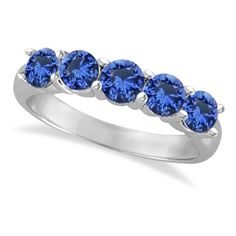 Allurez Five Stone Blue Sapphire Ring Band 14k White Gold (2.20ct) (3,675 AED) ❤ liked on Polyvore featuring jewelry, rings, stone engagement rings, engagement rings, white gold engagement rings, round engagement rings and white gold wedding rings