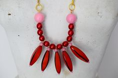 Statement Necklace | Bib Necklace | Rare Vintage Red  Resin Beads, Pink Plastic Beads, Gold Plated Chain | Hand-Made | One-of-a-Kind by TheTreasureBoxOrna on Etsy
