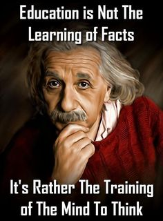 """Education is not the learning of facts. It's rather the training of the mind to think."" - Albert Einstein"