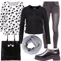 Maglietta manica lunga fondo bianco con cuori neri, abbinata a un jeans skinny grey, giubbino di jeans nero, scarpe senza lacci nere, shopping bag nera in vernice lucida, scaldacollo grey.