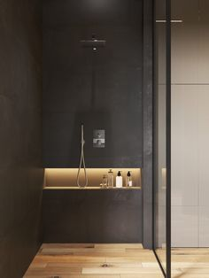 A Glass Wall Separates The Living Room From The Home Office In This Modern Loft Apartment Bathroom Ideas – In this modern bathroom, two black pedestal sinks are located below a mirror, th Bathroom Niche, Loft Bathroom, Shower Niche, Master Bathroom, Bathroom Ideas, Bathroom Modern, Bathroom Black, Modern Bathroom Inspiration, Bathroom Shower Designs
