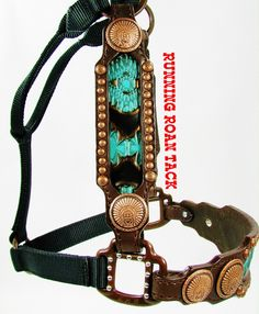 Turquoise Navajo Inlaid Halter with Copper Indian Chief Conchos by Running Roan Tack