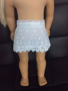 White lace doll skirt fits American girl doll and 18 by theLUXdoll