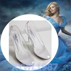 2015 Hot Movie Princess Cinderella Clear Glass Slippers Summer high-heeled shoes #Unbranded #heels