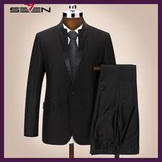 Seven7 Brand Men Suits Chinese Mandarin Collar Male Suit Slim Fit Blazer  Wedding Terno Tuxedo 2 60a7ab8d6d1