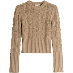 Michael Kors Wool-Cashmere Cable Knit Pullover (710 CAD) ❤ liked on Polyvore featuring tops, sweaters, pulls, michael kors, brown, none, michael kors sweaters, cashmere cable sweater, long sleeve sweater and cashmere cable knit sweater