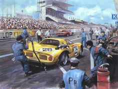 1965 Le Mans Ferrari 250 LM in the pits by M Turner Le Mans, Grand Prix, Sports Car Racing, F1 Racing, Classic Race Cars, Automobile, Speed Art, Mobile Art, Motorcycle Art