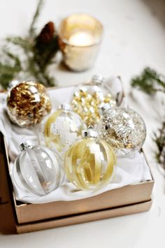 Stuff clear baubles with tinsel- instant sparkly ornament! (and you can change them when you get tired of it
