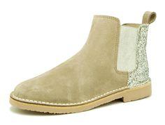 Tienda online de botines en serraje y glitter con elástico para niña y señora.