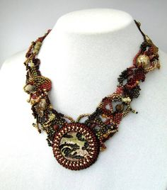 Earth tone Beaded necklace, Seed Bead jewelry, Beadwork jewelry, Brown rustic freeform peyote necklace