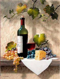 Wine Painting, Fruit Painting, Still Life Photos, Still Life Art, Wine Photography, Still Life Photography, Share Pictures, Afrique Art, Wine Art