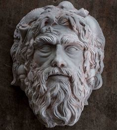 Mask of #Neptune, the ancient Roman water #God (also identified to the Greeks as #Poseidon, #GodOfTheSea). Modelled in clay, carved and refined in plaster. Being cast in #bronze currently.