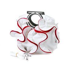 #Stylish White, Vibrant Red Large Ruffle Double Handle Satchel Hobo Handbag w/Shoulder Strap #Women Handbags
