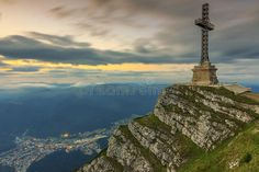 Beautiful Sunrise In The Mountains And Caraiman Heroes Cross Monument In Bucegi Mountains,Carpathians,Romania Stock Image - Image of orange, nature: 32389175 Sunrise Mountain, 3d Texture, Beautiful Sunrise, Central Europe, Mother Earth, Statue Of Liberty, Montana, Paris Skyline, Stock Photos