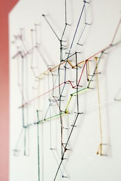 London Underground string map  pins and colored string- so cheap and easy