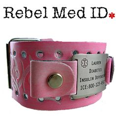 Medical ID Bracelets and jewelry custom engraved for men, women, children - Electric Tribal Pink Leather Medical Band