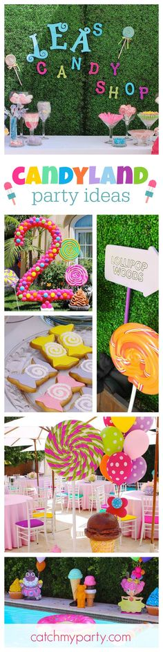Checkout this fun Candyland garden birthday party! The pool and garden decorations are so cool! See more party ideas at CatchMyParty.com
