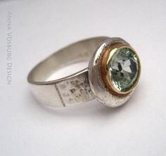 Silver and 14K Gold Green Spinel ring by Anna Vosburg Design,.