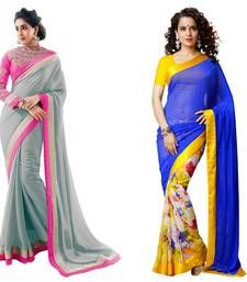 Buy gray and blue embroidered georgette saree with blouse sarees-combo-sari online
