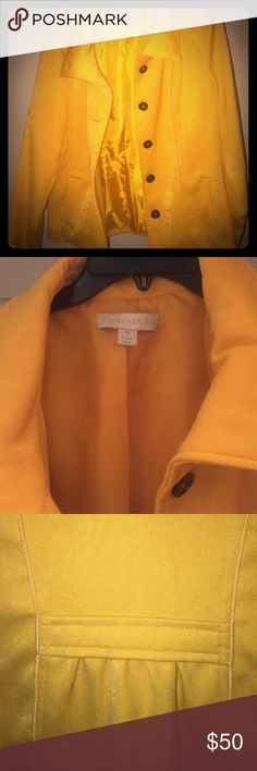 NWOT never worn Laura Ashley peacoat Never worn. Matches a separate listing shirt. Yellow 100% polyester. No pets or smoke. Laura Ashley Jackets & Coats Pea Coats
