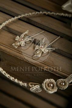 Χειροποίητα στέφανα γάμου με κορδόνι πλεκτά λουλούδια και περλίτσες σε vintage ύφος