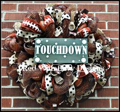 Football Wreath Football Football Decoration by RedWithEnvyDesigns, Football Crafts, Football Wreath, Football Football, Football Decor, Football Season, Sports Decor, Baseball, Wreath Crafts, Diy Wreath